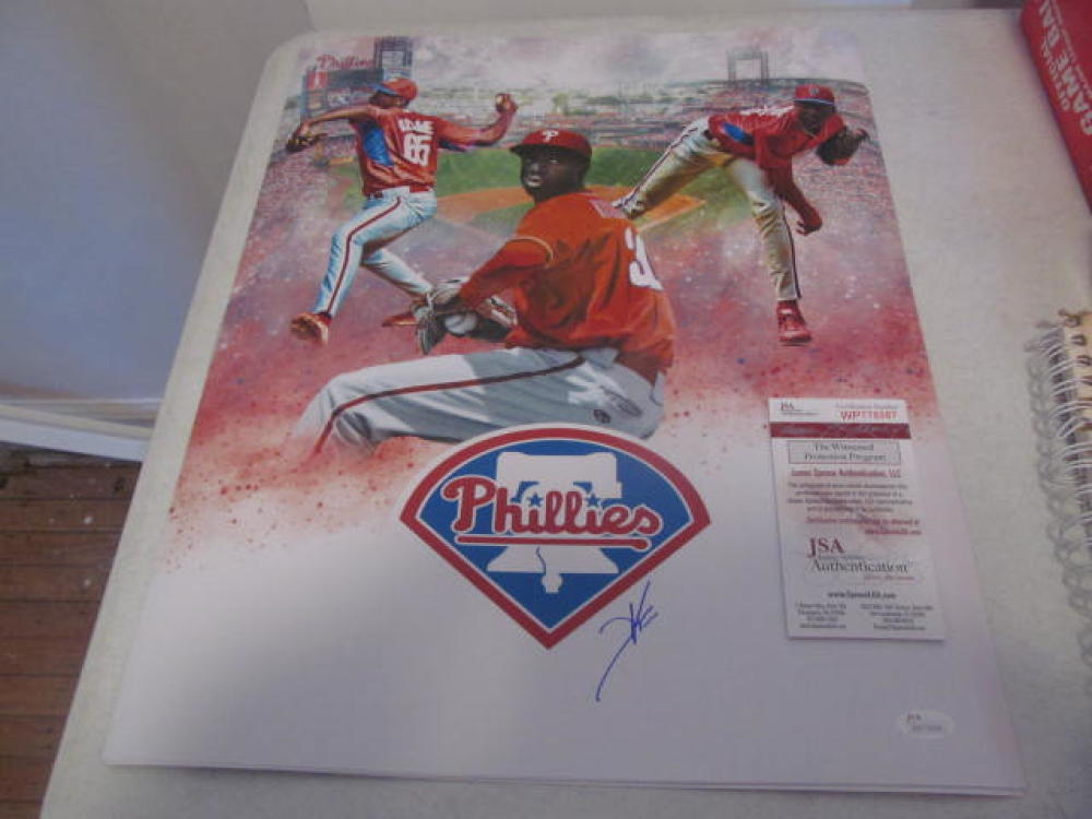 Franklyn Kilome  Philadelphia Phillies Signed 16x20 Collage Photo JSA