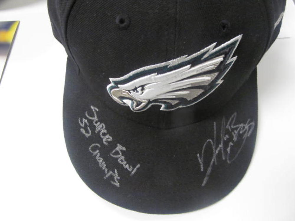 Kenjon Barner Philadelphia Eagles Signed Black Fitted Hat COA Inscription