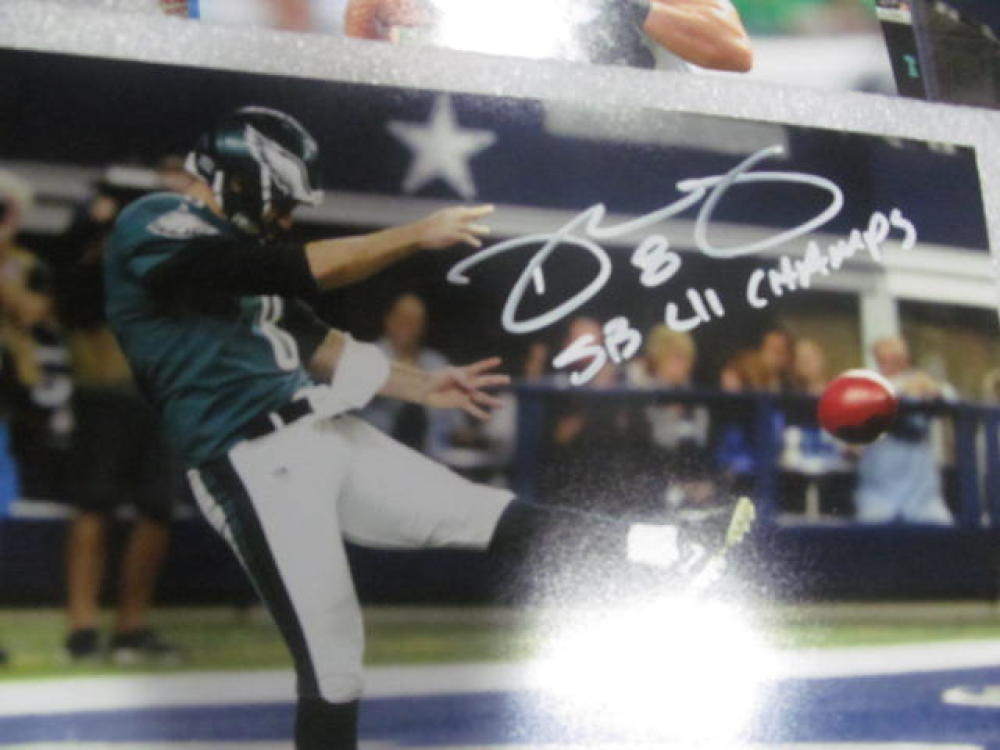 Donnie Jones  Philadelphia Eagles Signed 8x10  Photo COA Superbowl Champs INS 2