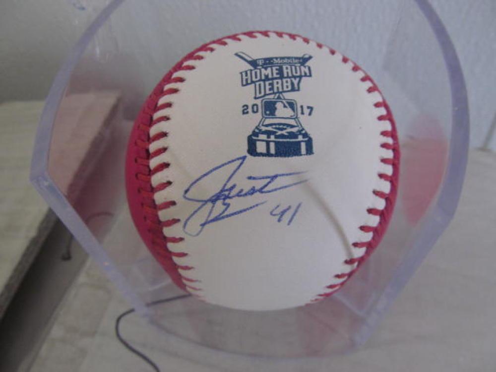 Justin Bour Miami Marlins Signed 2017 Homerun Derby Pink Baseball COA
