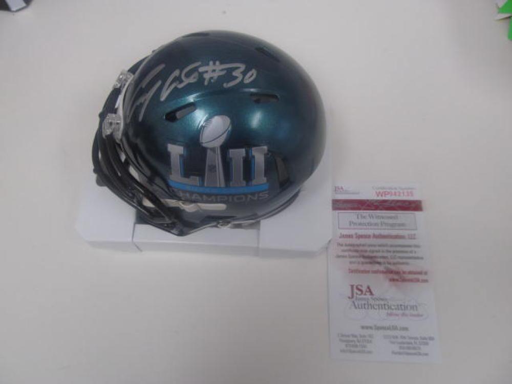 Corey Clement Philadelphia Eagles Signed Superbowl XLIII mini Helmet JSA