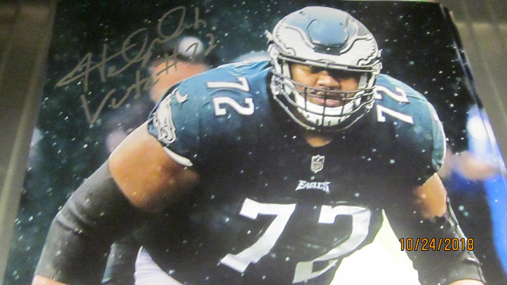 Halapoulivaati Vaitai Philadelphia Eagles Signed 8x10 Photo COA 3
