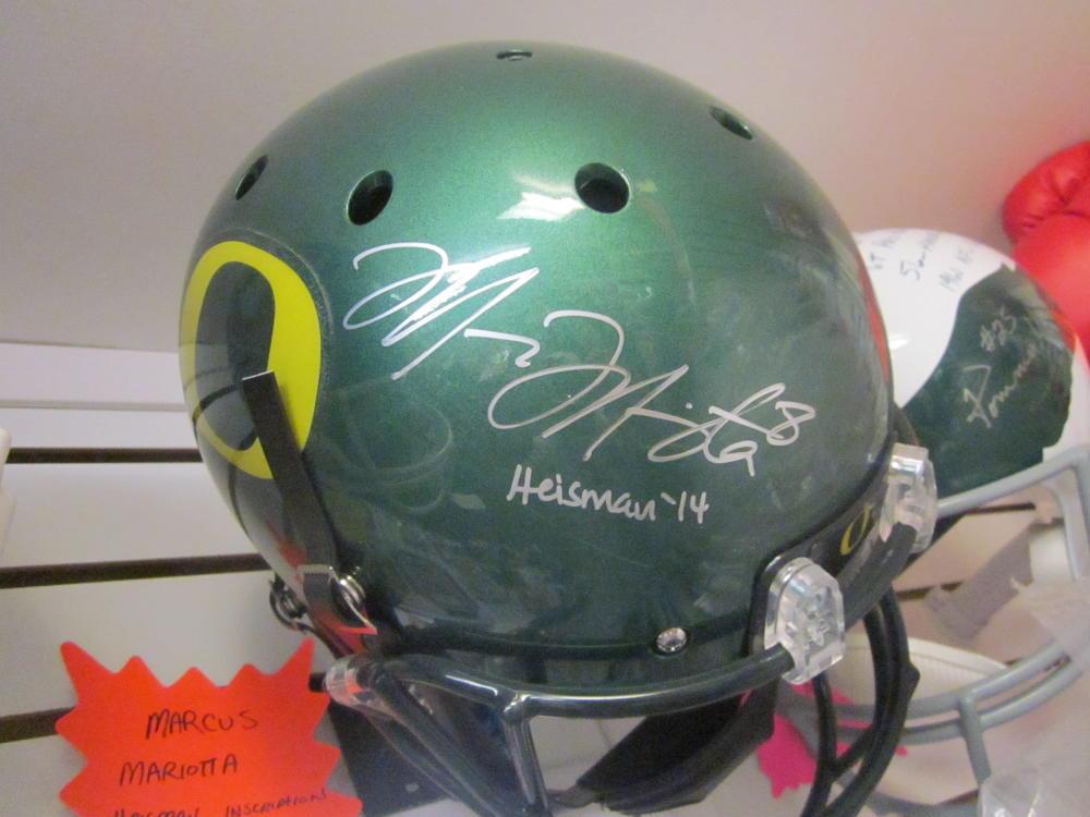 Marcus Mariota Oregon Ducks/Titans Signed Full Size Replica  Helmet JSA Inscription