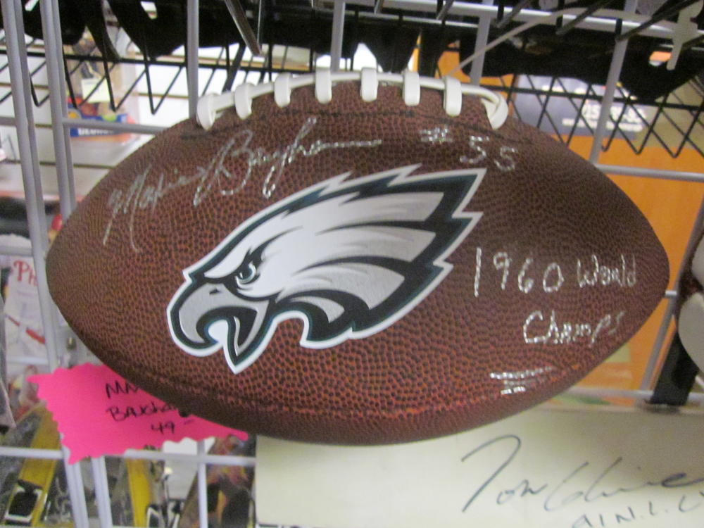 Maxie Baughan Philadelphia Eagles Signed  Logo Football COA Inscription