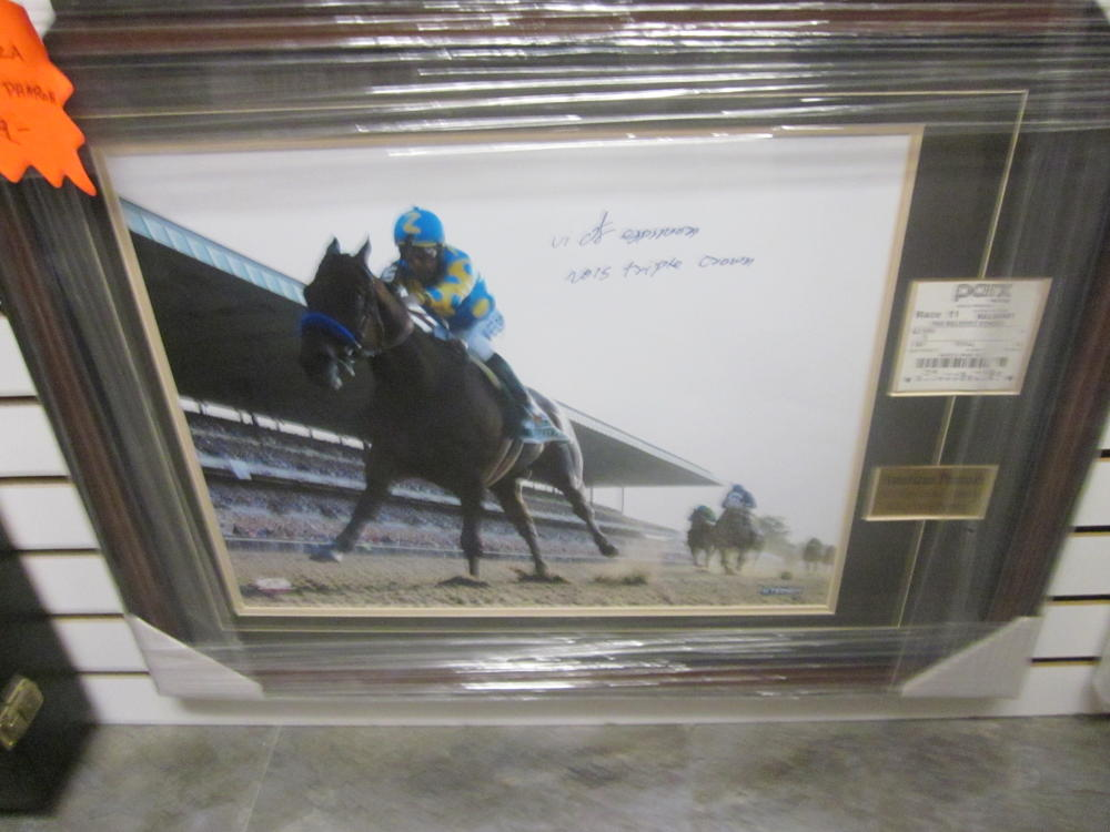 American Pharoah Victor Espinoza Signed 16x20 Framed Photo & Winning Ticket COA