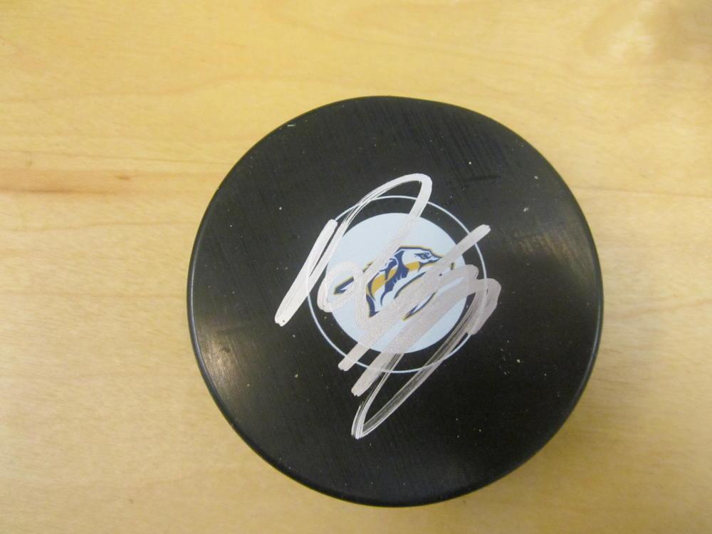 Roman Josi Nashville Predators Signed Logo Puck COA