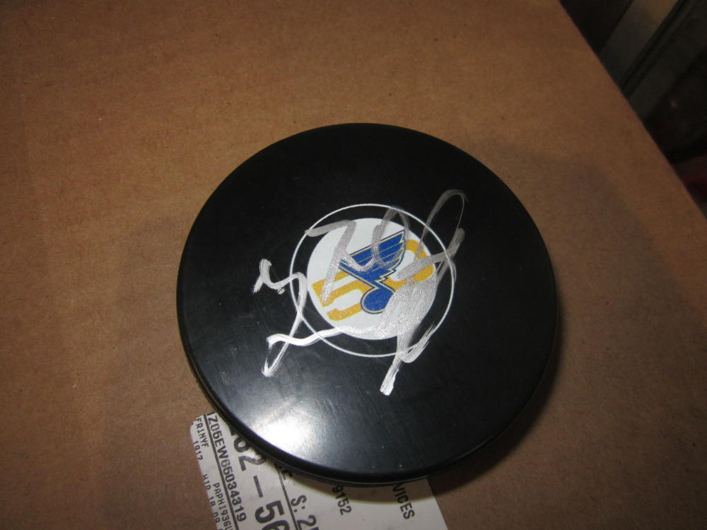 Oscar Sundqvist St Louis Blues Signed 50th anniversary Logo Puck COA