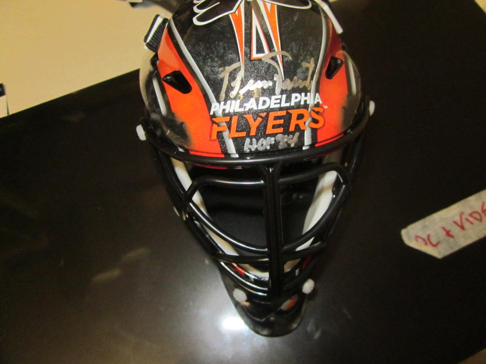Bernie Parent Philadelphia Flyers Signed mini Goalie Mask COA Inscription