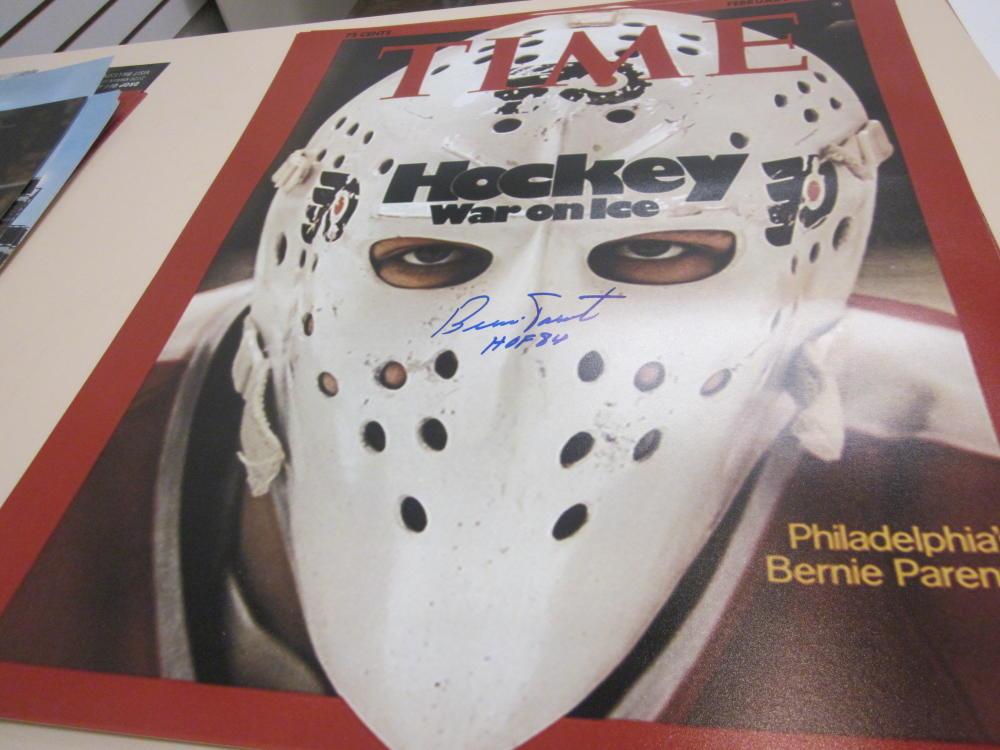 Bernie Parent Philadelphia Flyers signed 16x20 TIME Magazine Photo COA HOF