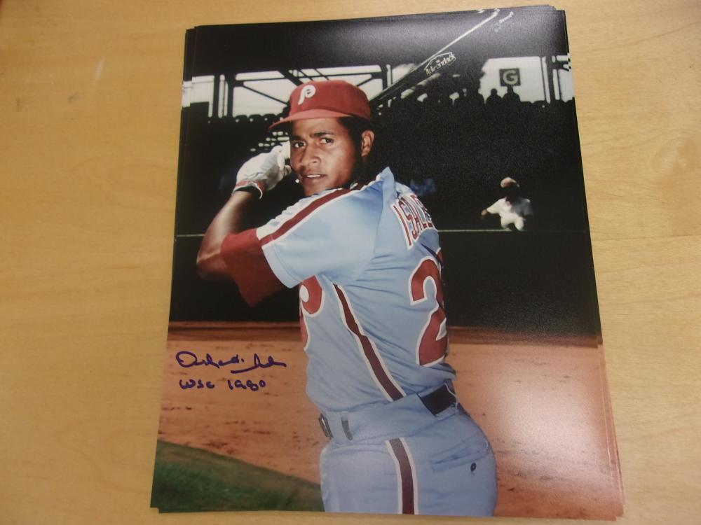 Orlando Isales Philadelphia Phillies Signed 8x10 Photo COA 1980 WSC Inscription