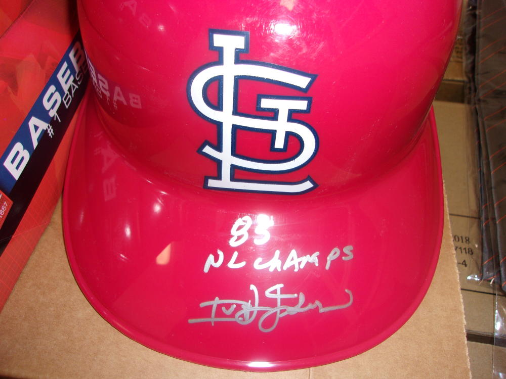 Ivan Dejesus St Louis Cardinals Signed Batting Helmet COA Inscription