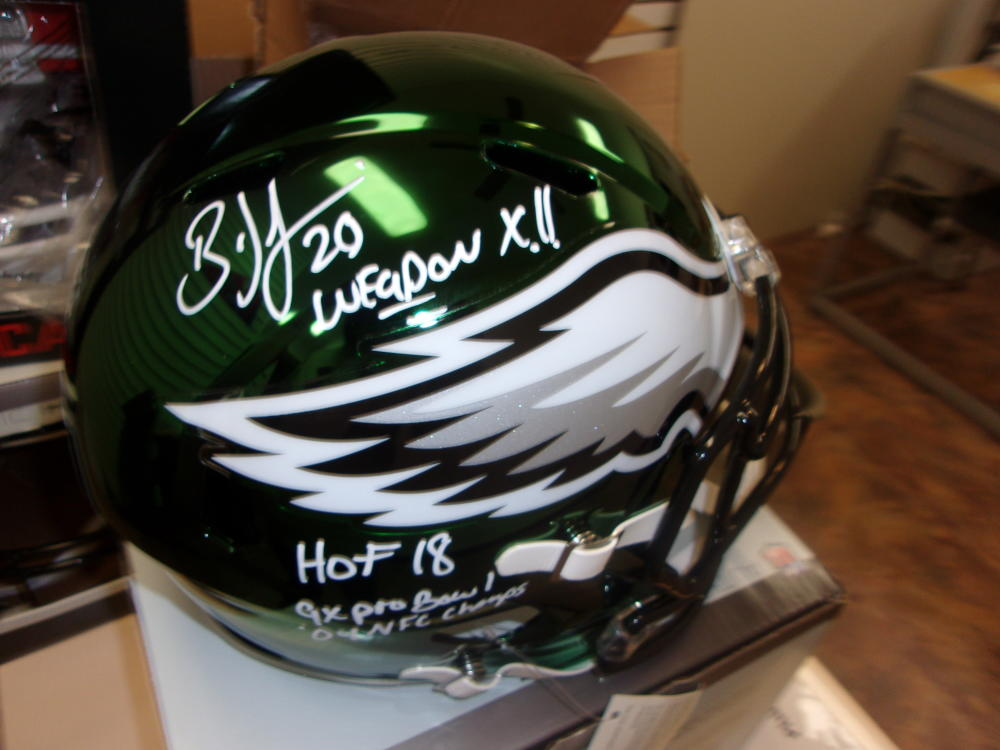 Brian Dawkins Philadelphia Eagles Signed Full Size Replica Chrome STAT Helmet JSA HOF Inscription