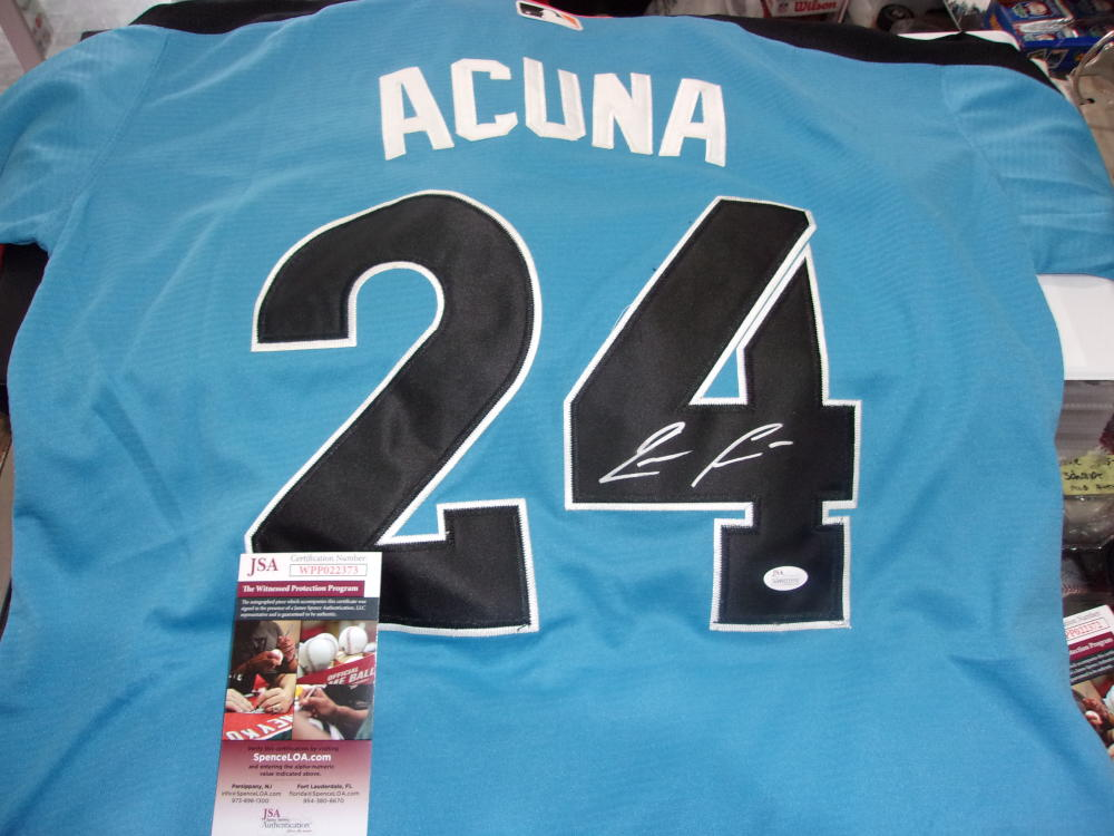 Ronald Acuna Jr Atlanta Braves Signed Replica Futures Game Jersey JSA Inscription