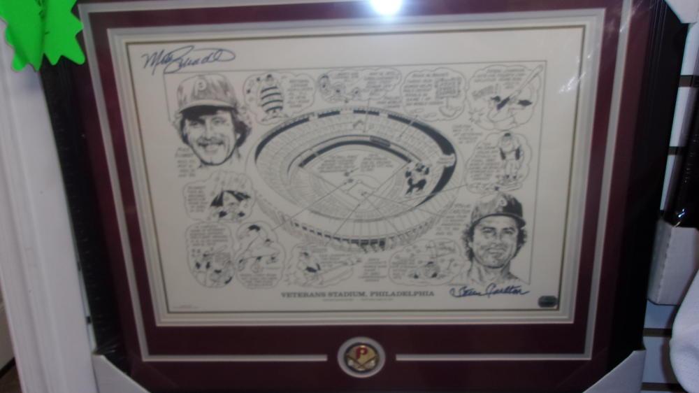Mike Schmidt/Steve Carlton Philadelphia Phillies Signed 16x20 Vet Stadium Framed Photo COA