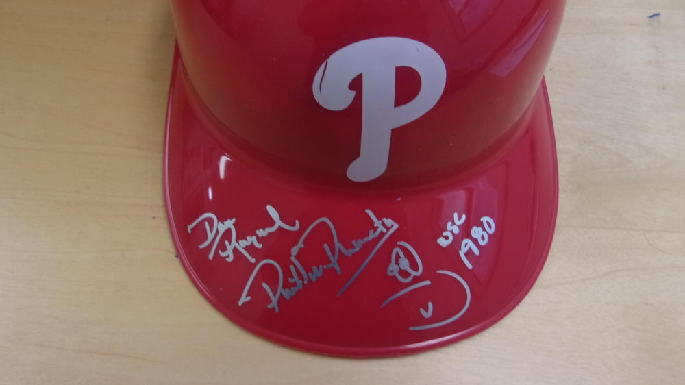 Phillie Phanatic Philadelphia Phillies Signed Batting Helmet COA Dave Raymond