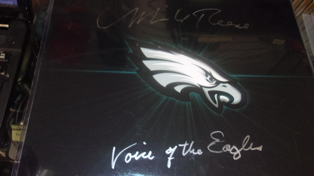 Merrill Reese Philadelphia Eagles Signed 11x14 Logo Photo COA Inscription