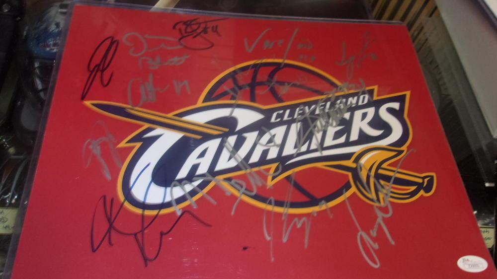 2016 Cleveland Cavs Team signed 11x14  NBA Champs Logo Photo JSA