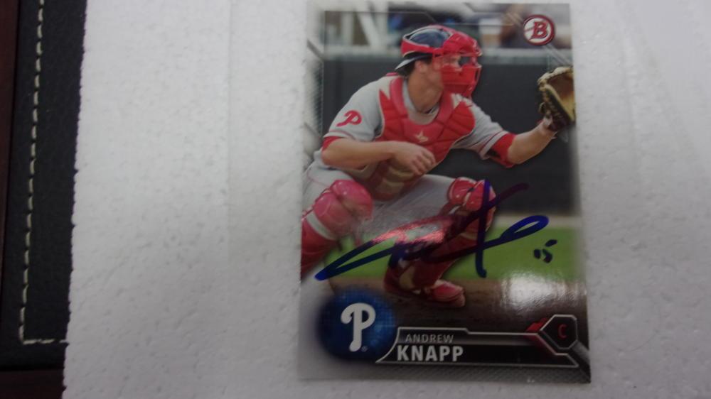 Andrew Knapp Philadelphia Phillies Signed 2016 Bowman Card COA