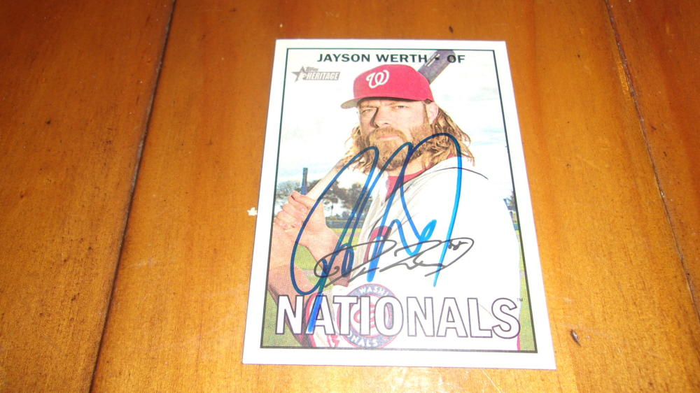 Jayson Werth Washington Nationals Signed 2016 Topps Heritage Card COA