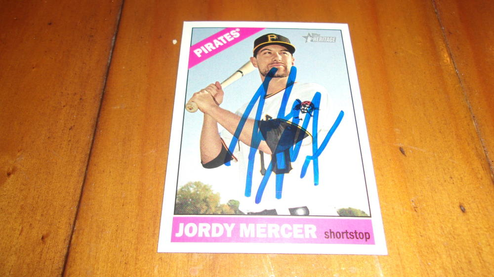 Jordy Mercer Pittsburgh Pirates Signed 2015 Topps Heritage  Card COA