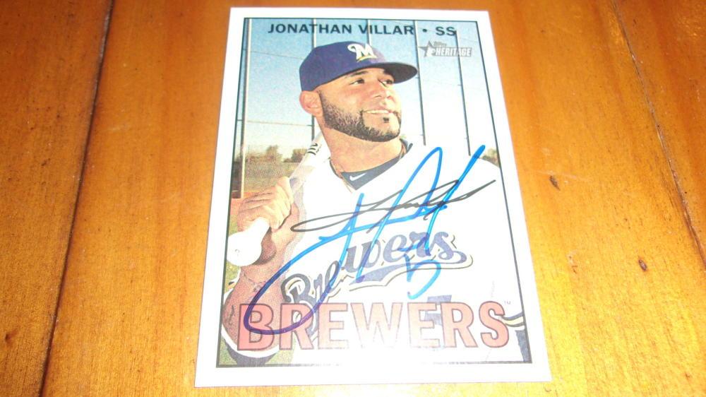 Jonathan Villar Milwaukee Brewers Signed 2016 Topps Heritage  Card COA