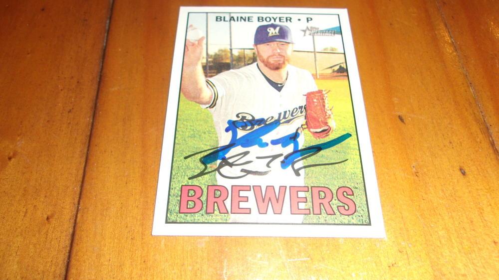 Blaine Boyer Milwaukee Brewers Signed 2016 Heritage Base Card COA