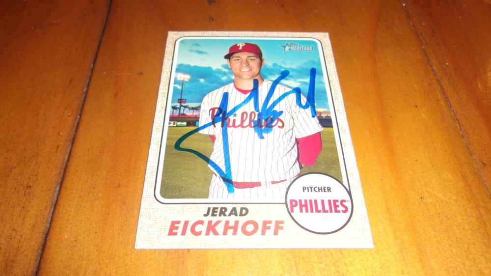 Jerad Eickhoff Philadelphia Phillies signed 2017 Heritage  Base Card COA