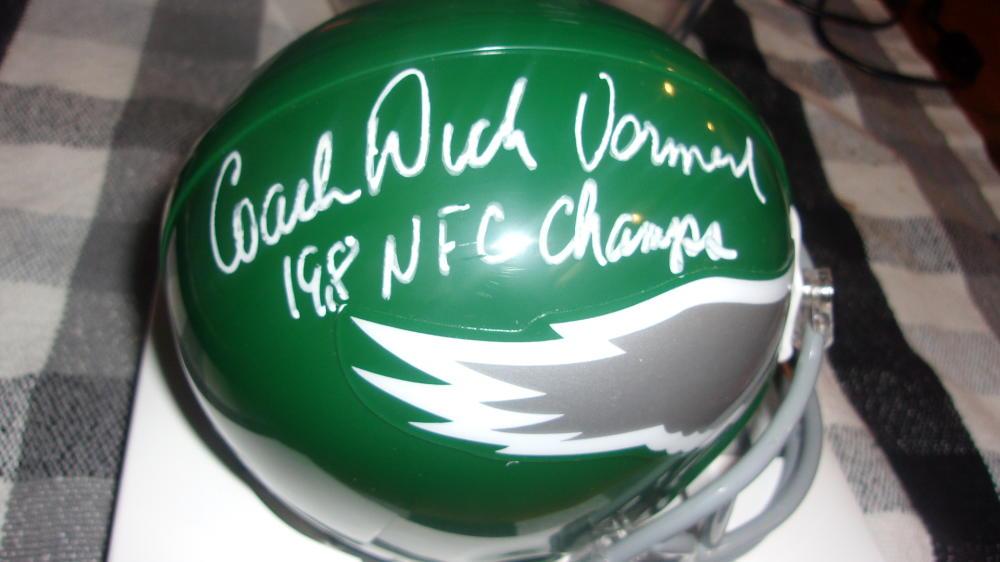 Dick Vermeil Philadelphia Eagles  Signed Throwback  Mini Helmet COA