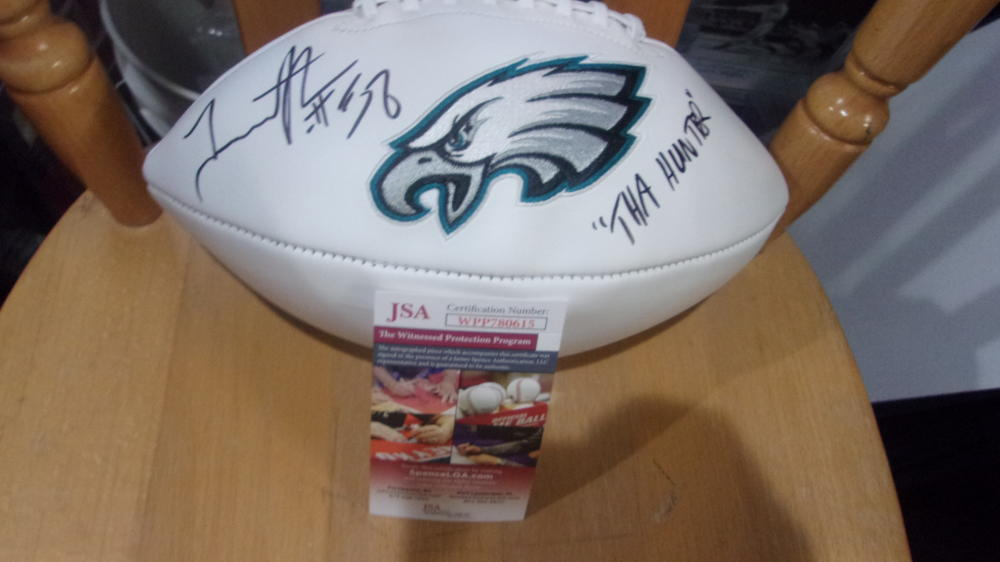 Trent Cole Philadelphia Eagles Signed Logo  Football JSA Inscription