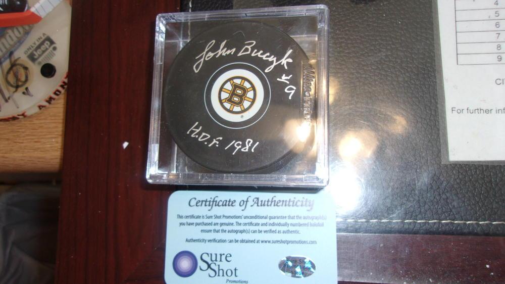 Johnny Bucyk Boston Bruins signed Logo Puck COA HOF Inscription