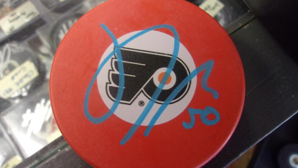 Sam Morin Philadelphia Flyers signed Orange Logo  Puck COA