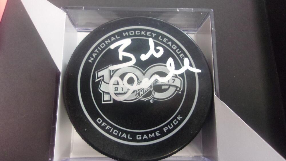 Bob Clarke Philadelphia Flyers Signed 100th NHL Annivesary official  logo Puck COA