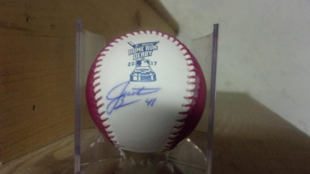 Justin Bour Miami Marlins Signed 2017 Pink HR Derby Baseball COA