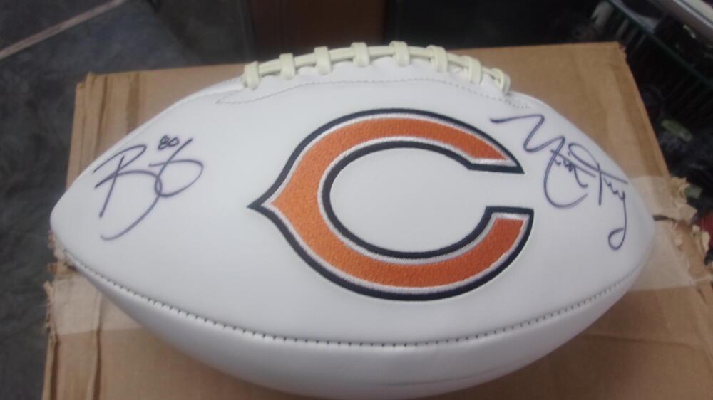 Mitchell Trubisky/Trey Burton Chicago Bears Signed Logo  Football COA Fanatics