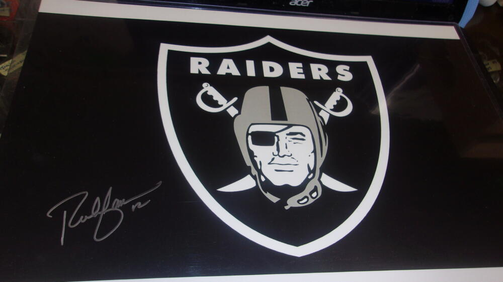 Rich Gannon Oakland Raiders Signed 11x17 Team Logo   Photo COA