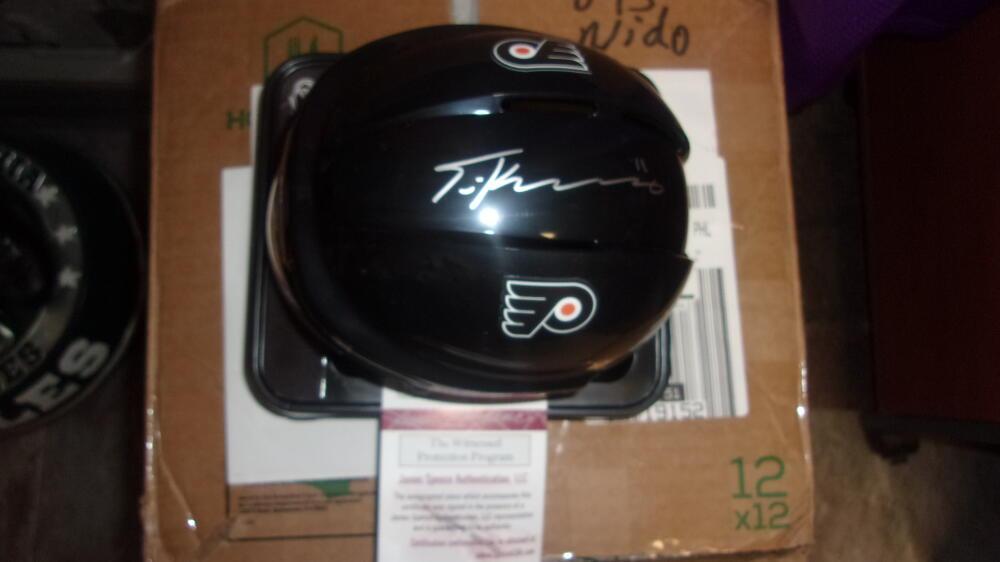 Travis Konecny Philadelphia Flyers Signed Mini Helmet COA JSA