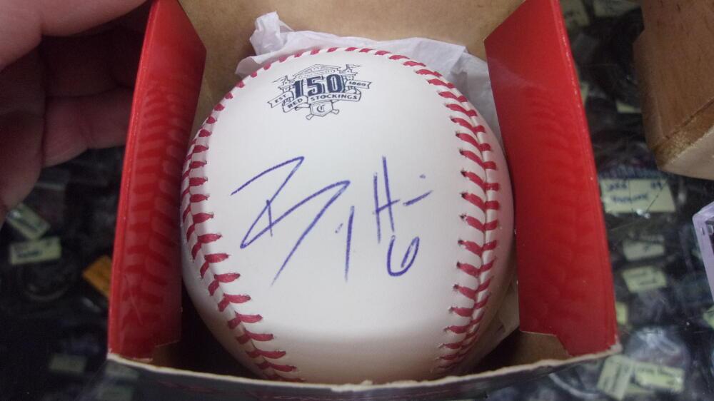 Billy Hamilton Cincinnati Reds signed 150th Anniversary Baseball COA