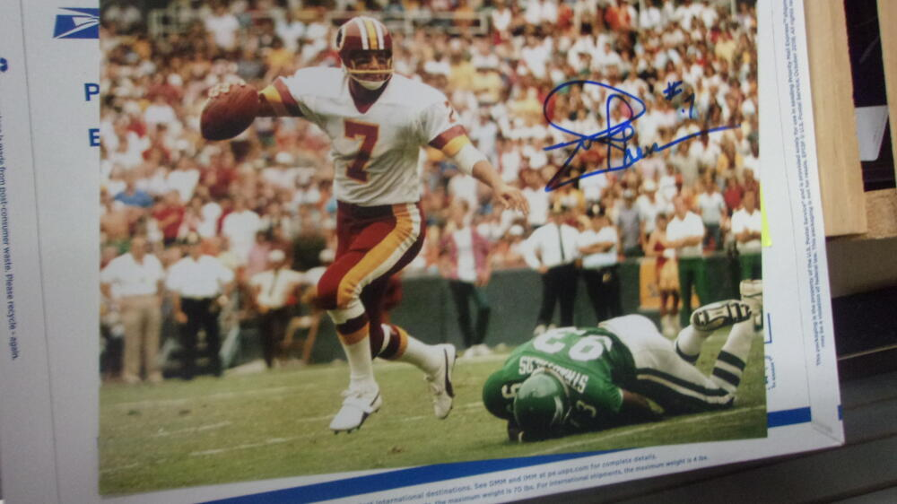 Joe Theismann Washington Redskins signed 8x10  Photo COA  4