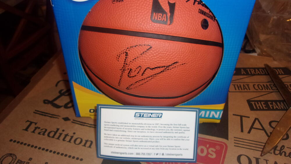 Kristaps Porzingis Dallas Mavericks signed Mini Basketball Steiner COA