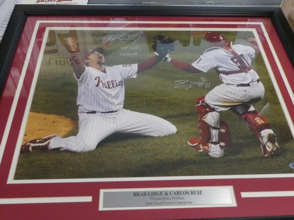Brad Lidge/Carlos Ruiz Philadelphia Phillies Signed 16x20 Framed 08 WS Photo COA