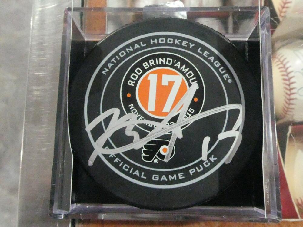 Rod Brindamour Philadelphia Flyers Signed Official Retirement Puck COA