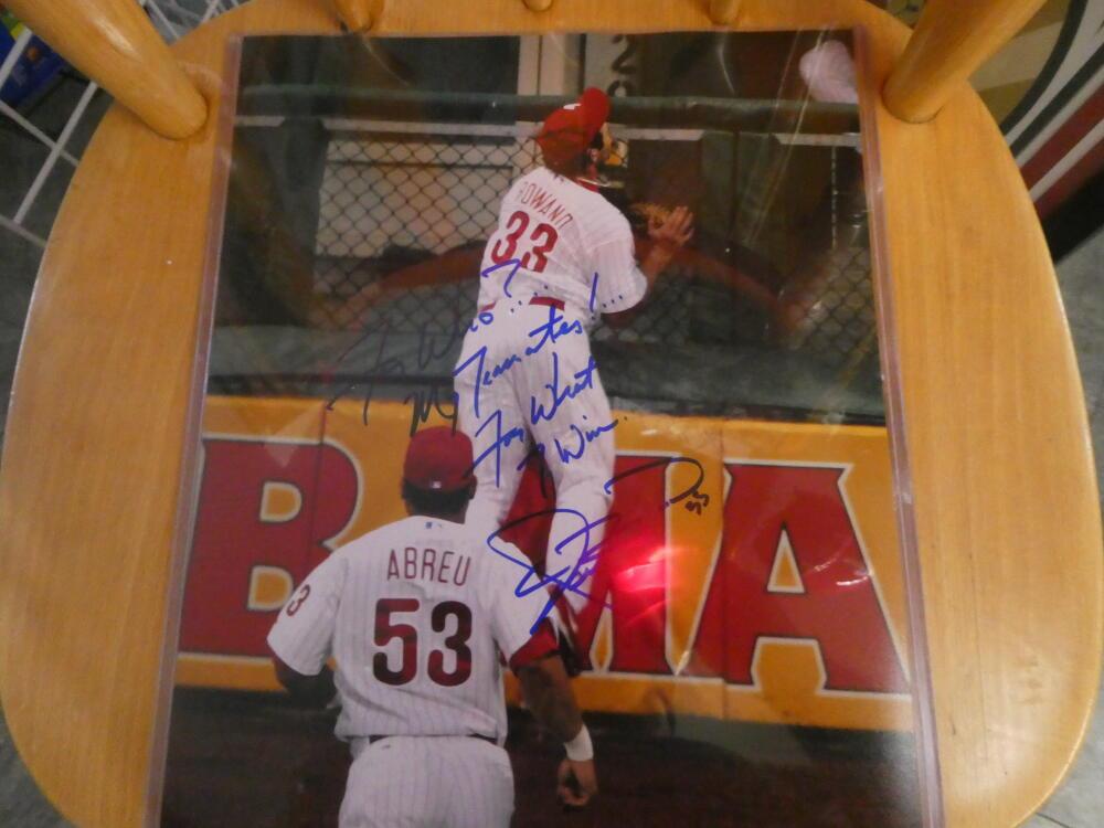 Aaron Rowand Philadelphia Phillies Signed 11x14 Photo COA THE CATCH Inscription