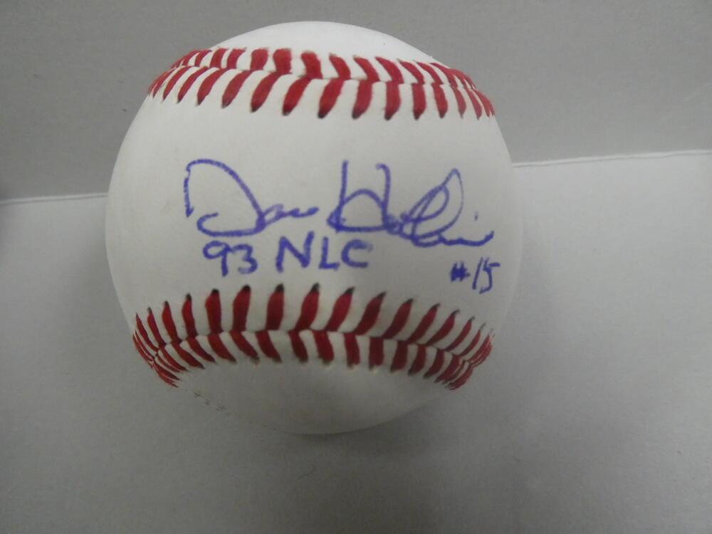 Dave Hollins Philadelphia Phillies signed OLB Baseball COA 93 Nl Champs Inscrip