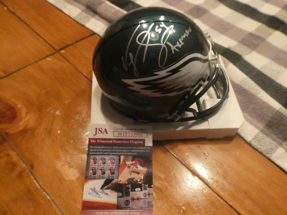 Jeremiah Trotter Philadelphia Eagles Signed  Mini Helmet COA JSA Inscription
