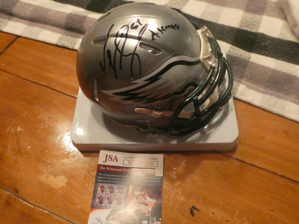 Jeremiah Trotter Philadelphia Eagles Signed Flash Mini Helmet COA JSA Inscription