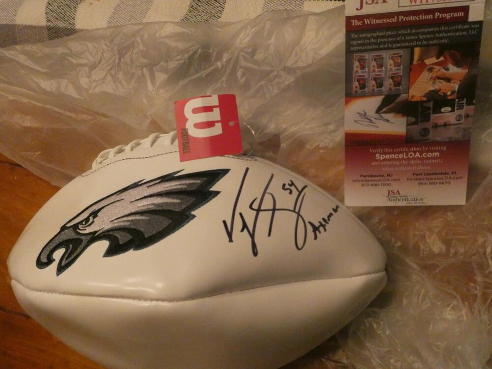 Jeremiah Trotter Philadelphia Eagles Signed Logo Football COA AXEMAN