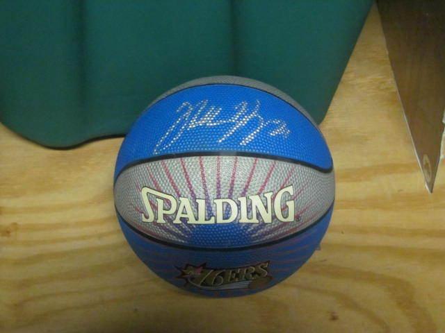 Thaddeous Young Philadelphia 76ers Signed Mini Basketball COA