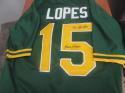 Davey Lopes Oakland A's Signed Throwback Replica Jersey COA Inscription