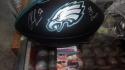 Chris Long Philadelphia Eagles Signed Black Logo Football JSA Inscription
