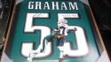 Brandon Graham Philadelphia Eagles Signed  UNIFRAME Superbowl Sack Photo JSA Inscription